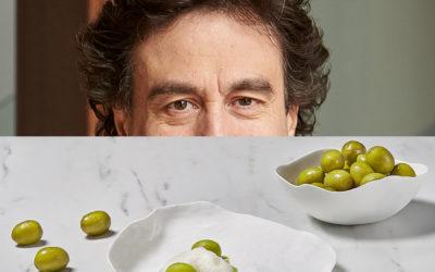 Gazpacho de aceituna Gordal, sopa de hierbas y almendras