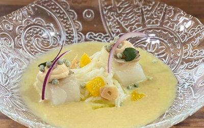 Versión de ensalada malagueña con aceituna Gordal